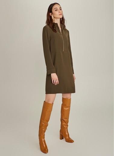 NGSTYLE Essentials - Fermuar Detaylı Krep Elbise Haki